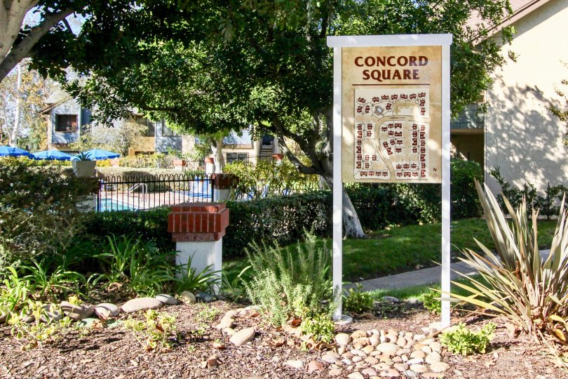 Concord Square green sight and Building Location Signage, Mira Mesa, California