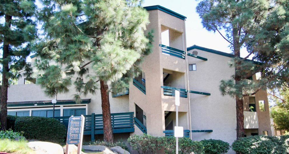 Three story building with trees at Creekside in Mira Mesa California