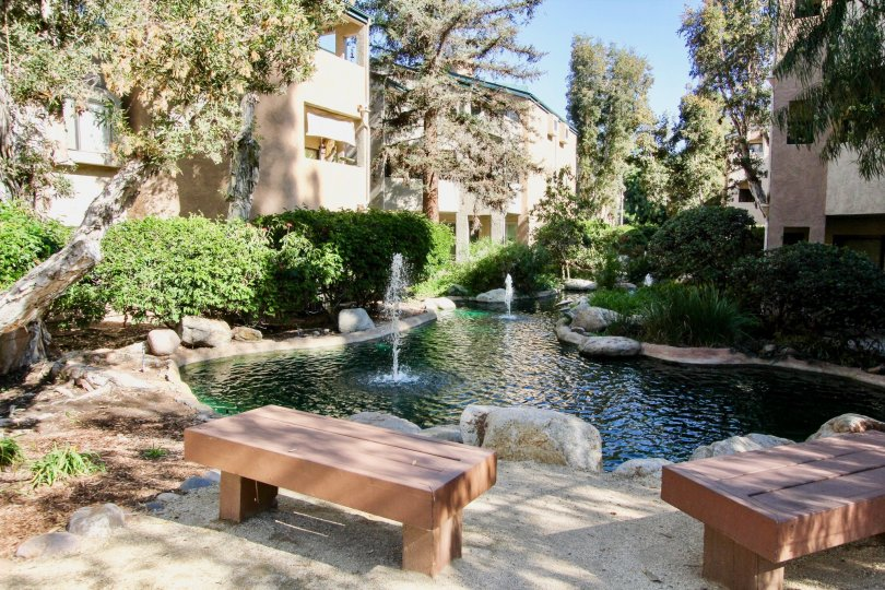 Fountain pond with seating area at Creekside in Mira Mesa California