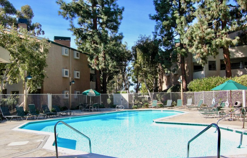 Swimming pool surrounded by residential buildings at Creekside in Mira Mesa California