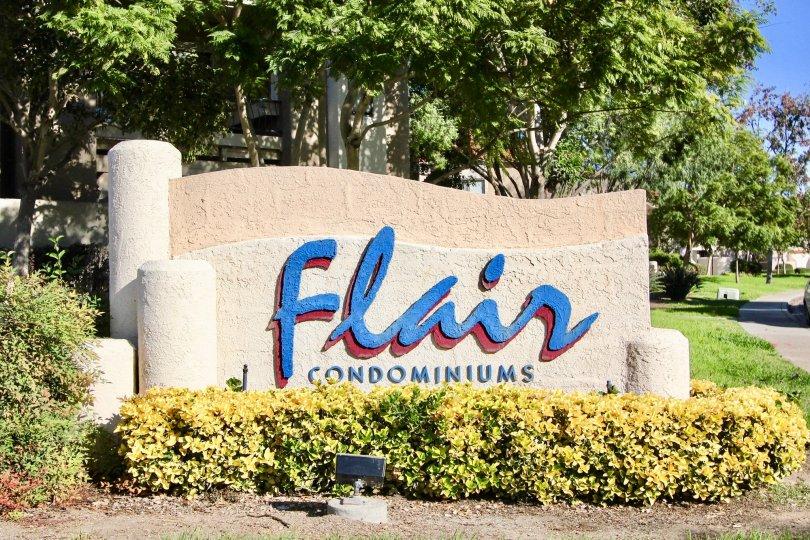 Green View of the entrance to Flair Condominiums Mira Mesa, California