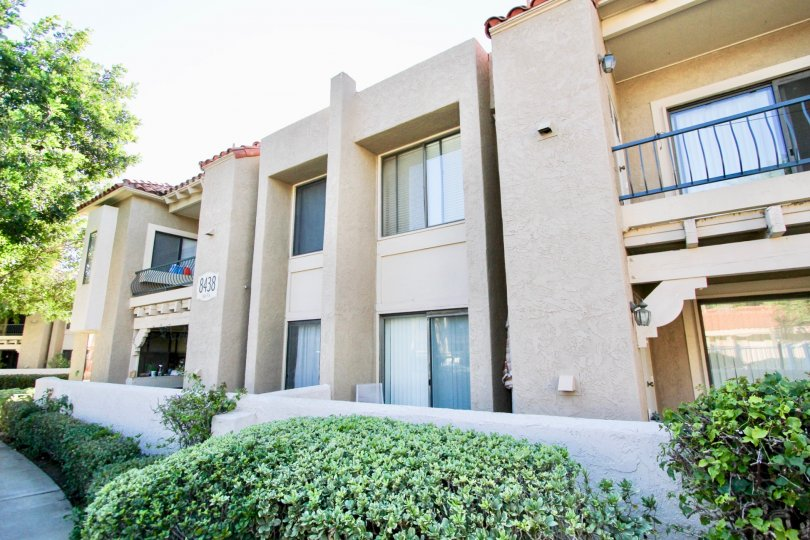 Two story residential buildings with balcony at Flair in Mira Mesa California