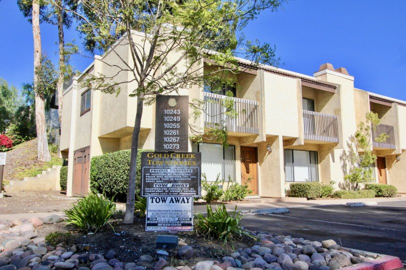 Two story condos with parking lot at Gold Creek in Mira Mesa California