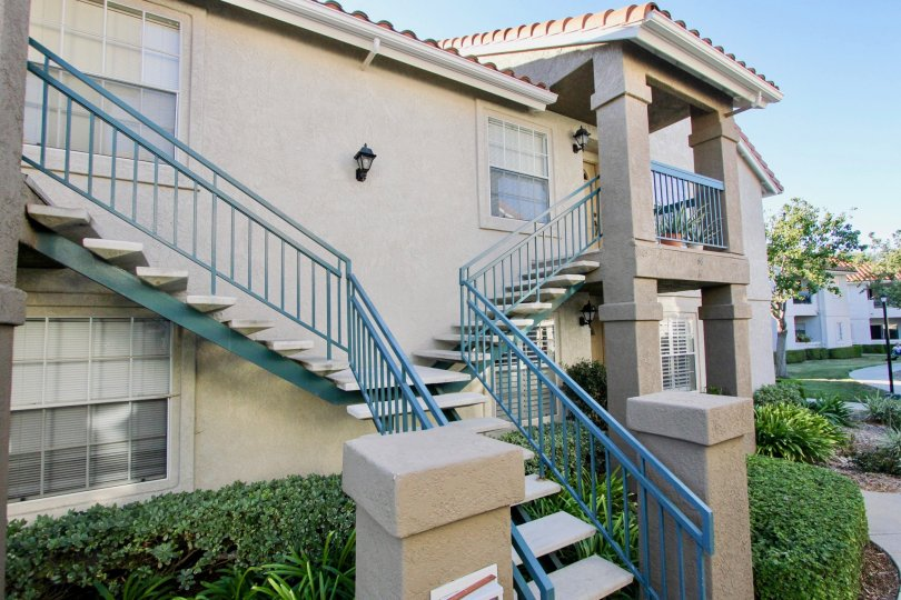 Two story residential units with attached stairways at Summit Ridge in Mira Mesa California