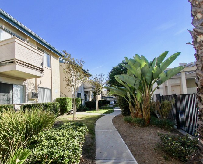 Side view of Villa Mar community side walkway, Mira Mesa, CA