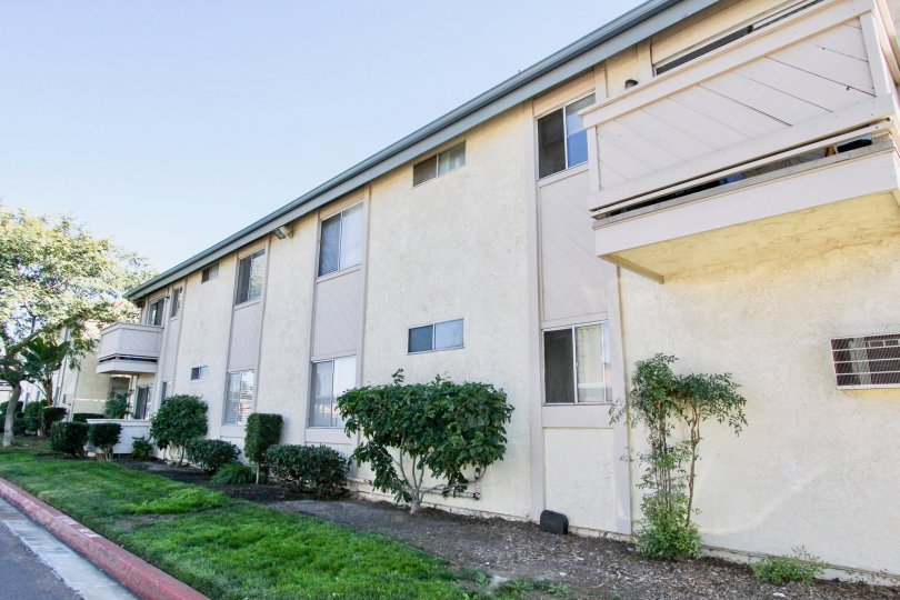 Two story residential units near driveway at Villa Mar in Mira Mesa California