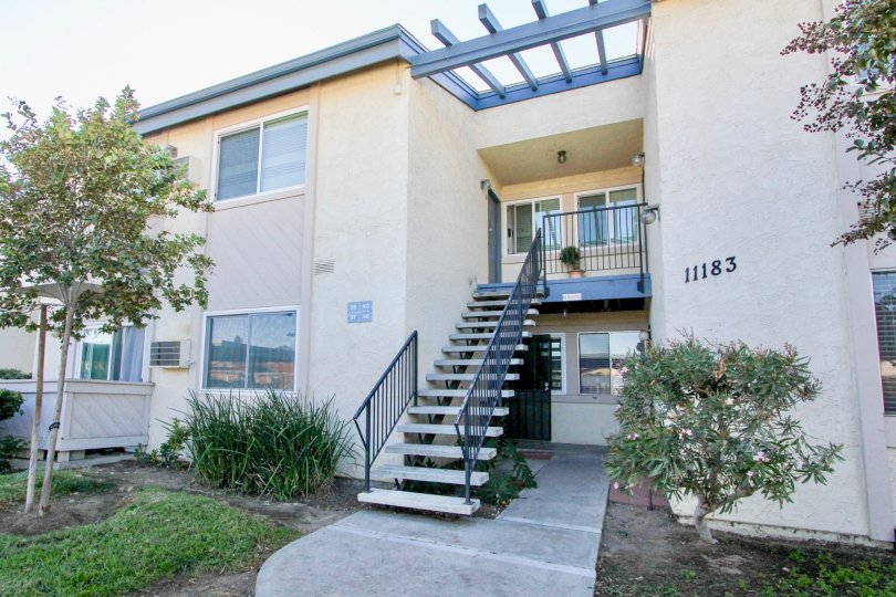 Two story residential units with attached stairway at Villa Mar in Mira mesa California