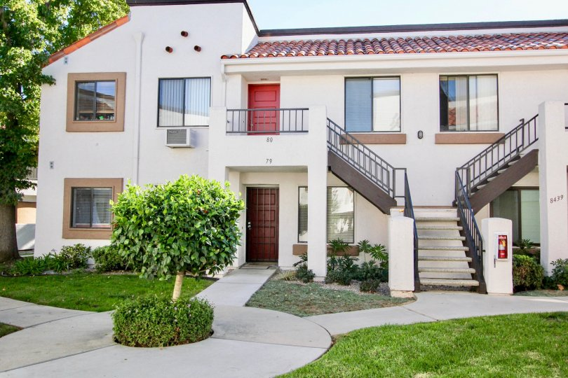 Two story residential buildings at villas At Westmore in Mira Mesa California
