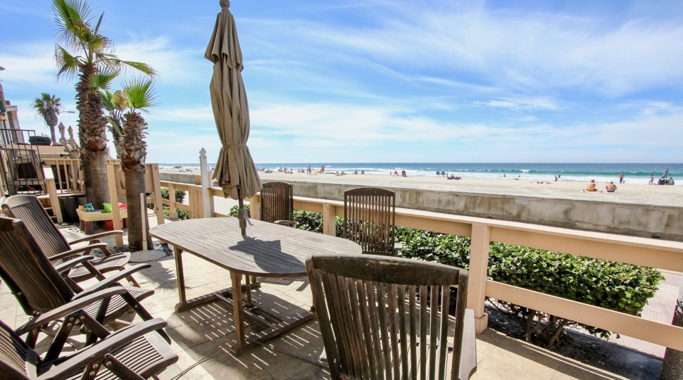 Amazing view of the ocean from the private deck at 3243 Ocean Front Walk in Mission Beach, California.