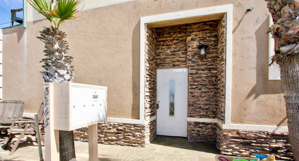 Gorgeous front door surround at 3243 Ocean Front Walk in Mission Beach, California.