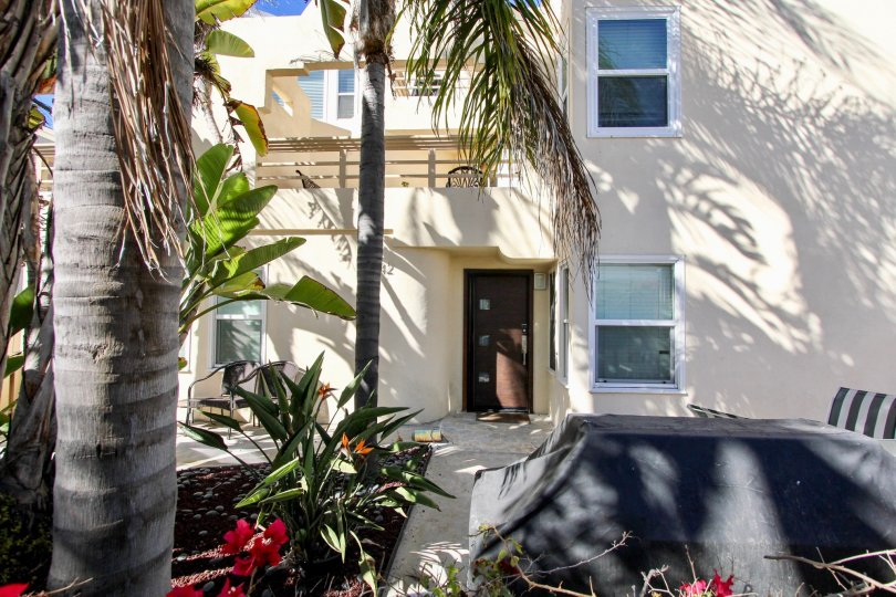 Odd looking brown door at Isthmus Condos in Mission Beach California