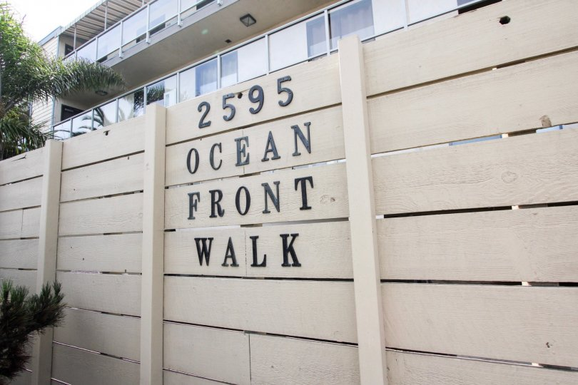 A fence in front of ocean-front property in the La Fin community of Mission Beach, California
