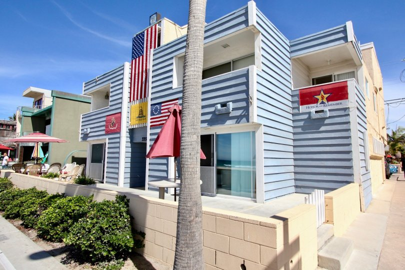 MB Townhomes showing patriotic flags in Mission Beach, CA