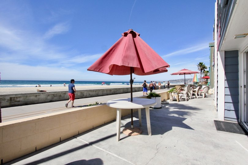 A sunny day in Mission Beach with people outdoors with umbrella-covered tables.