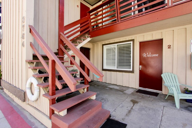 Mission Bayside with it's red stair finish, looking exquisite and beautiful, Mission Beach, California