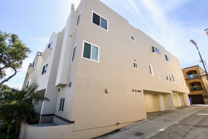 The building sits on the corner in the Mission Beach Villas area of Mission Beach, Ca.