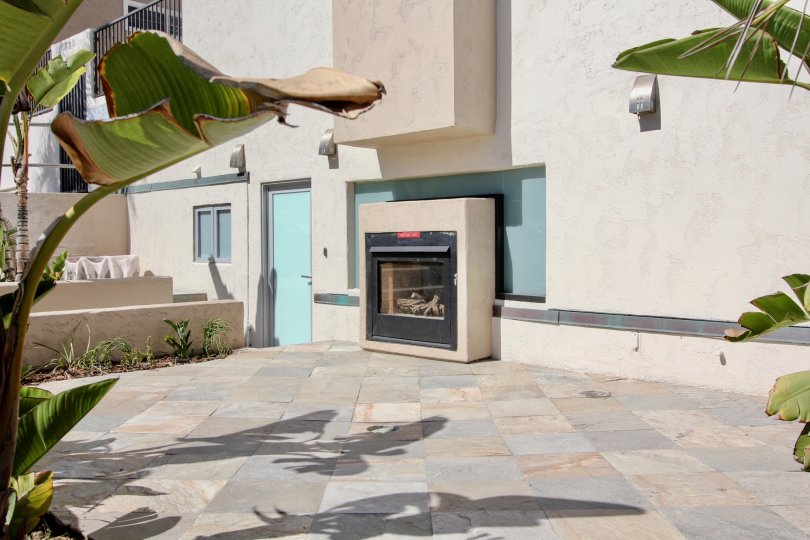 Outside patio with fireplace in Mission Beach Villas, Mission Beach, California