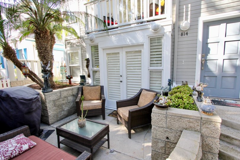 The outside sitting area in a Nantasket Ct home in Mission Beach Ca.