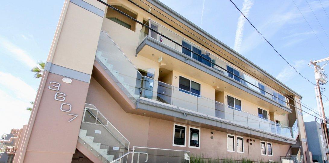 A streetside view of the San Juan Condominiums in Mission Beach, California