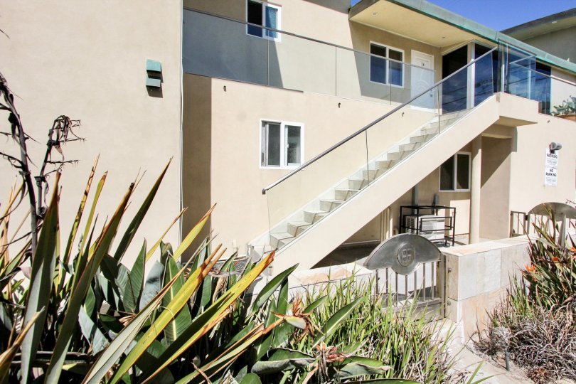 Town homes with see through glass stairways at Surf Rider in Mission Beach CA