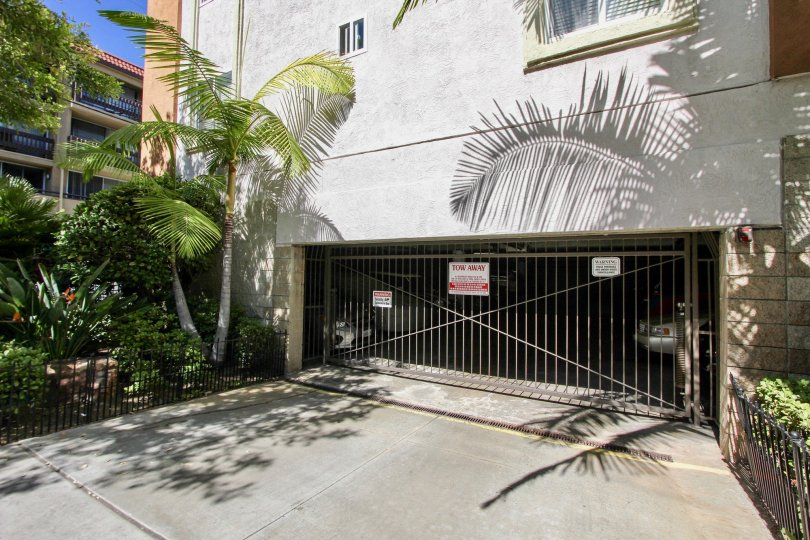 A view of the garage security gate at the Essex Place residences in Mission Hills, California