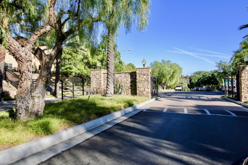 Driveway into a residential community at Bungalows at Escala in Mission Valley California.