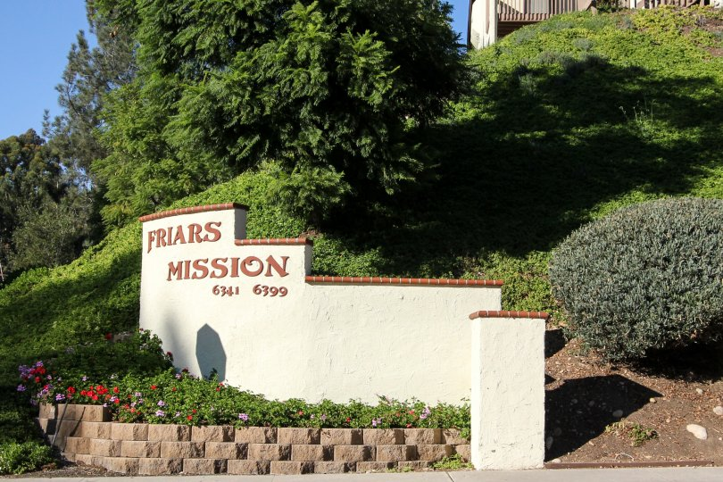 Friars Mission sign outside of Cerro De Alcala in Mission Valley, California