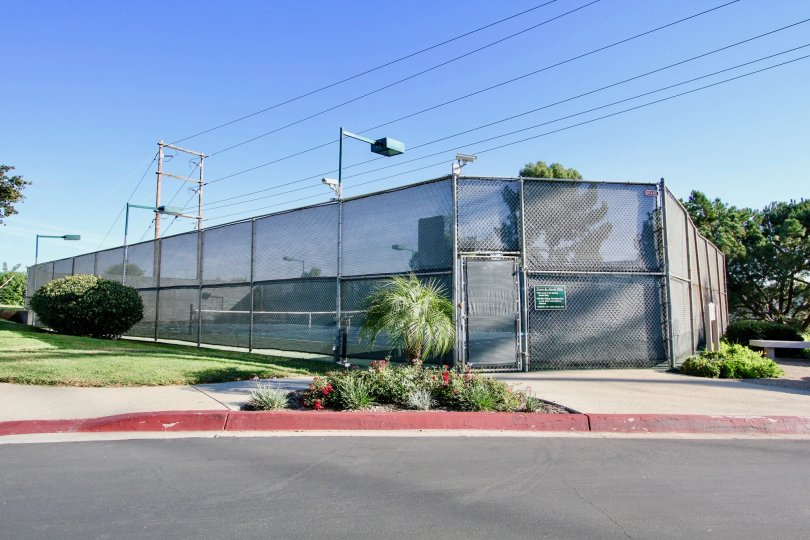 Fenced-in tennis courts by a road surrounded by grass in Cerro De Alcala, Mission Valley, California