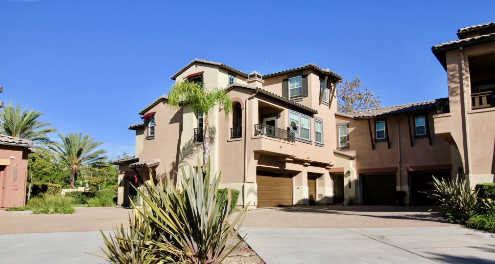 A view from the street of the Courtyards at Escala City in Mission Valley, California