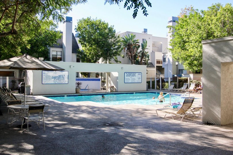 Apartment complex with nice pool in Creekwood at River Run Mission Valley California