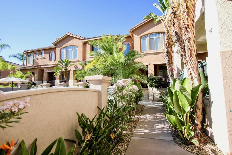 Mission Gate  , Mission Valley ,California,bushes,beige building