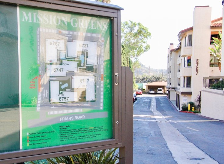 Mission Greens  , Mission Valley  ,California, road,notice board