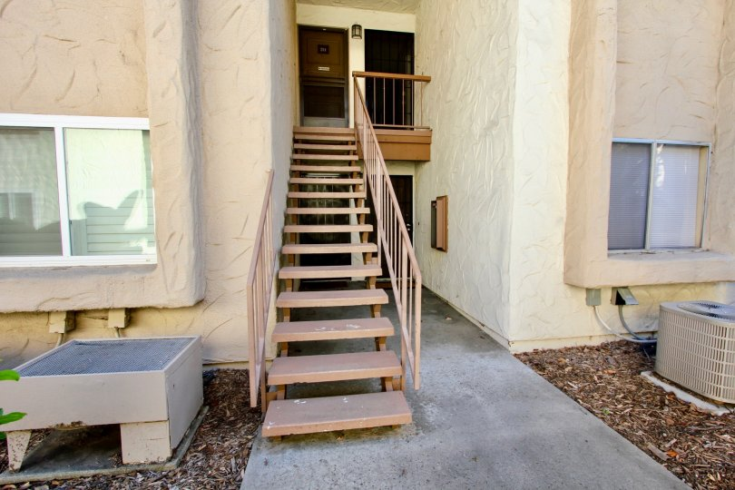 Staircase to several units at the Mission Plaza in sunny Mission Valley, CA