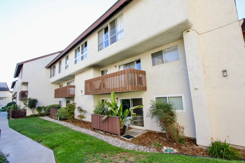 Mission Verde , Mission Valley  ,California, square windows ,brown balcony