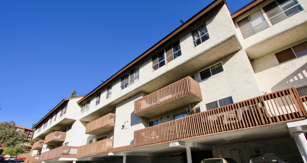 Mission Verde Community Mission Valley California balcony apartments with covered parking underneath