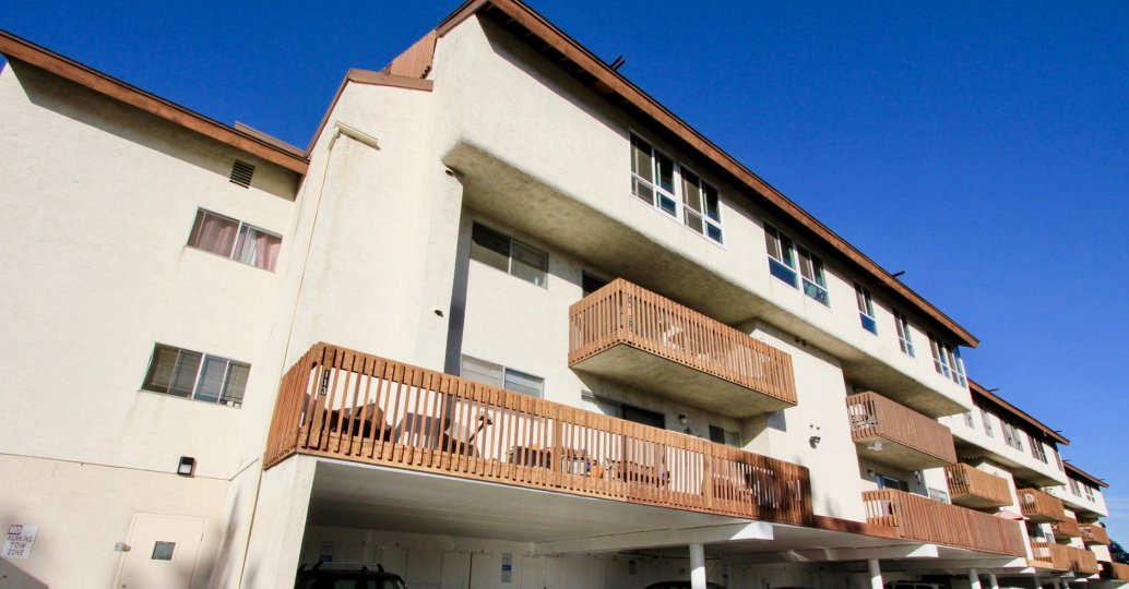 Exterior shot of apartment building, Mission Verde community, Mission Valley CA
