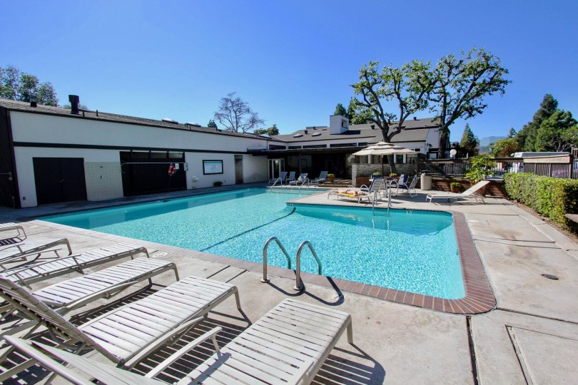 A clear blue pool in the Park Villas South community of Mission Valley, California.