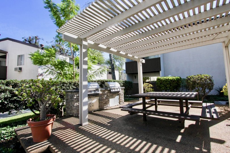 Shaded outdoor grills and picnic area at Park Villas South in Mission Valley, CA