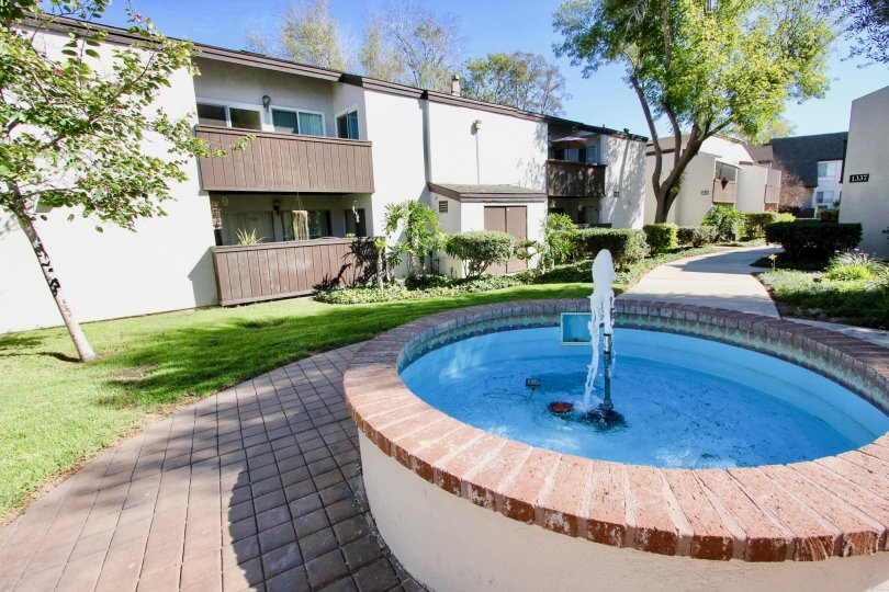 The Fountain and sidewalks at Park Villas South in Mission Valley California