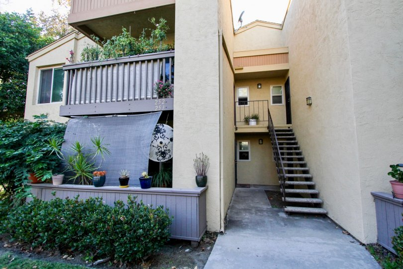 A view of the stairs of an apartment building in the Rancho Mission Villas community in Mission Valley, California