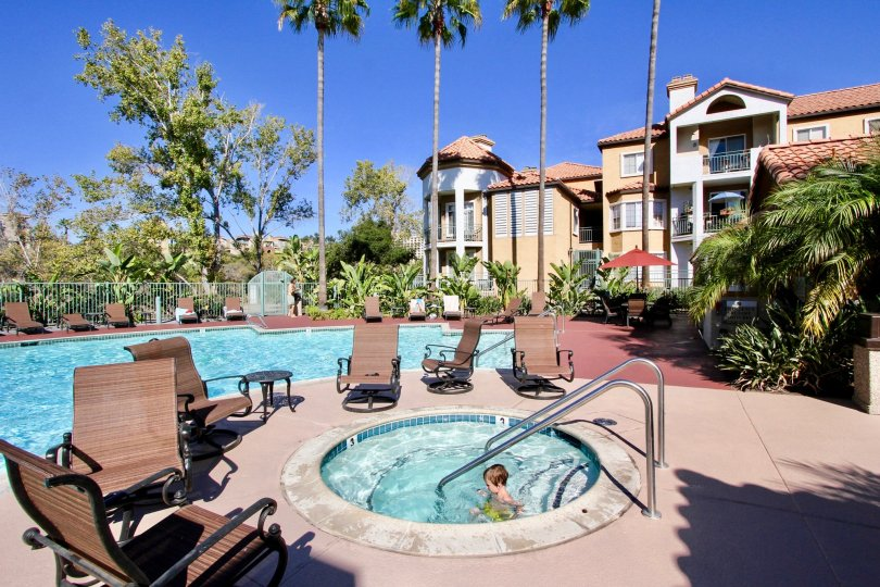 A hot tub and swimming pool are enjoyed by guests at River Colony in Mission Valley, California