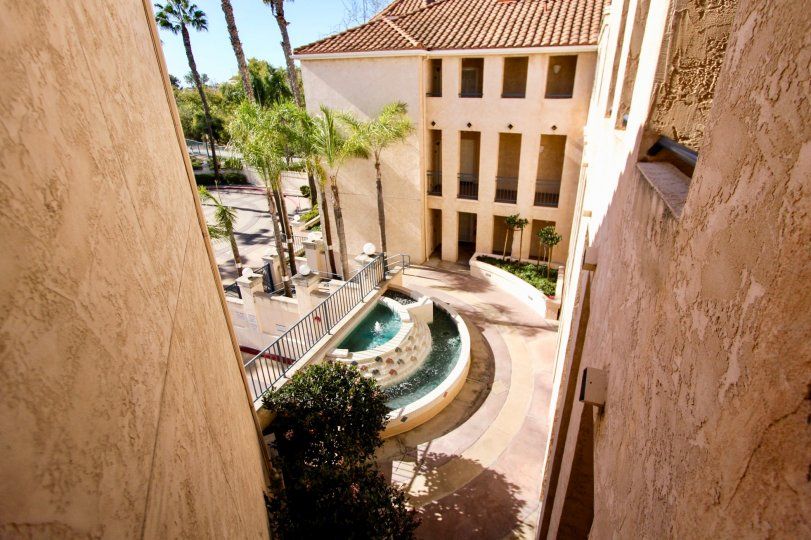 River Scene, Mission Valley, California, condo, appartment, water fountain, palm trees, three floors