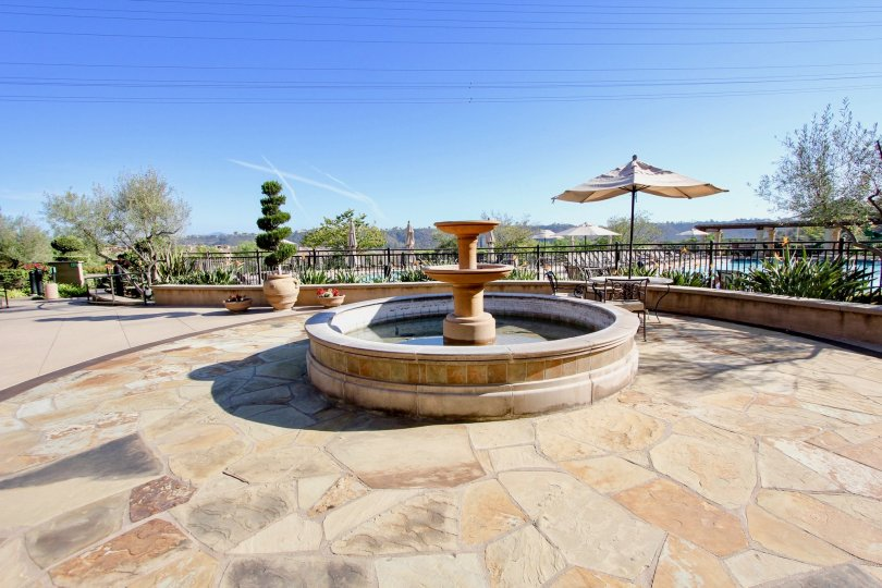 A fountain on a spacious deck at Terraces et Escala in Mission Valley, CA