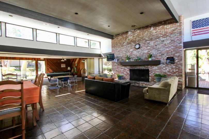 Living room with brick ire place at The Bluffs in Mission Valley California