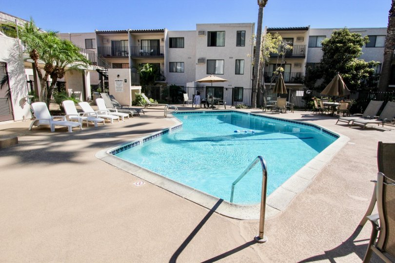 A sunny day in the franciscan with swimming pool in mission valley, california