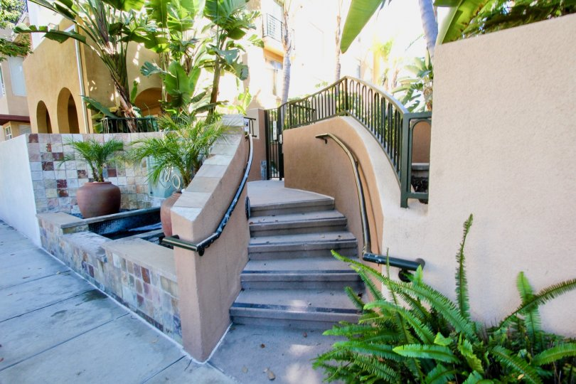 A beautiful Spanish staircase in The Lido in Mission Valley, CA.