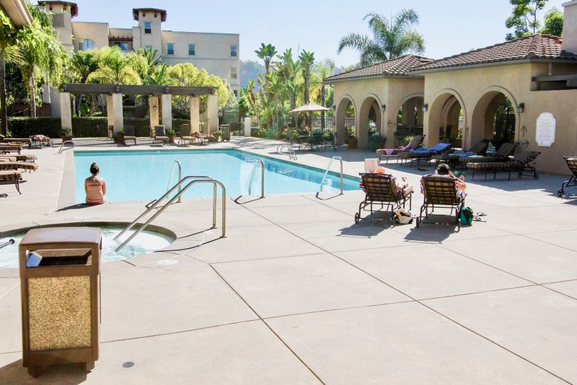 The swimming pool and hot tub at the Missions at Rio Vista apartment complex.