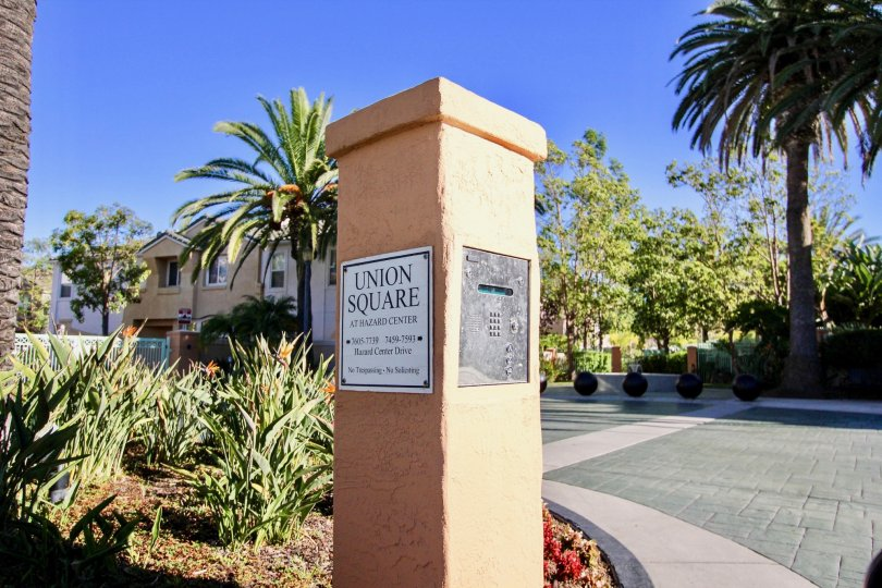 A view of a tower with keypad in the Union Square community in Mission Valley, California