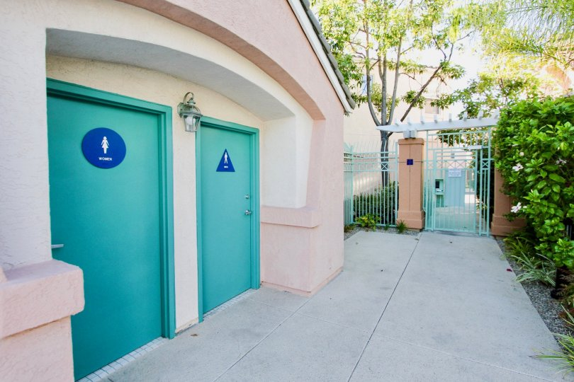 Restrooms near security entrance at Union Square in Mission Valley California