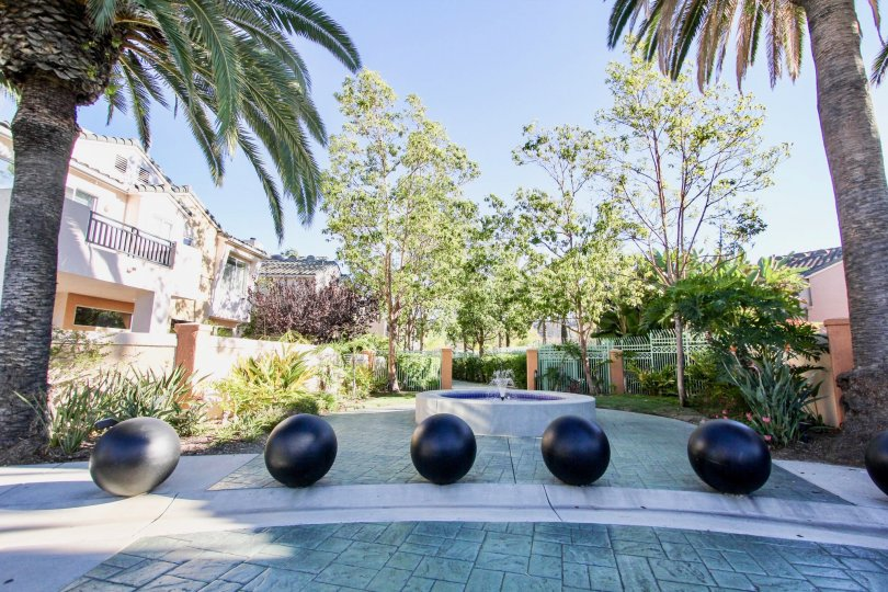 Private courtyard with fountain at Union Square in Mission Valley, California.